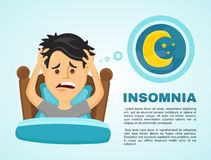 Insomnia infographic.Young man suffers. From lack of sleep. Vector flat modern style illustration character icon design. Isolated on white background.  Healthy Royalty Free Stock Images