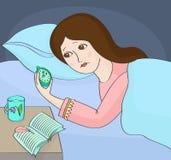 insomnia Kvinnan kan inte sova Arkivbilder