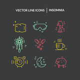 Insomnia Line Icons Stock Image