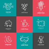 Insomnia Line Icons Royalty Free Stock Images
