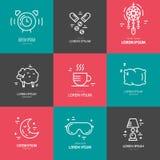 Insomnia Line Icons vector illustration