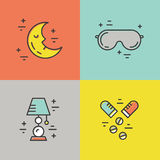 Insomnia Line Icons Royalty Free Stock Photography