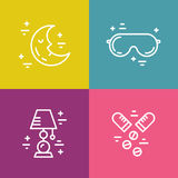 Insomnia Line Icons Royalty Free Stock Photos