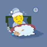 Insomnia man with sleeping sheep Stock Photo