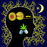 Insomnia and Marijuana. Woman taking medical cannabis for the treatment of sleeplessness or mental unrest Royalty Free Stock Photography