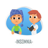 Insomnia medical concept. Vector illustration. Stock Image