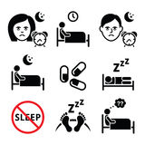 Insomnia, people having trouble with sleeping icons set Royalty Free Stock Image