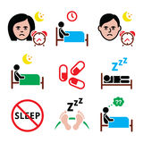 Insomnia, people having trouble with sleeping icons set Royalty Free Stock Images