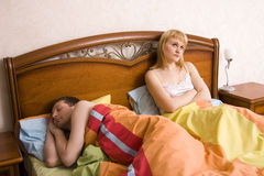 Insomnia. Problems in Bed Royalty Free Stock Image