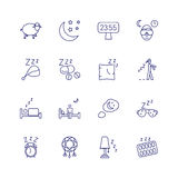 Insomnia problems icons and sleeping trouble vector signs Stock Images
