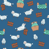 Insomnia seamless pattern. Seamless pattern with sheep flock and beds Royalty Free Stock Images