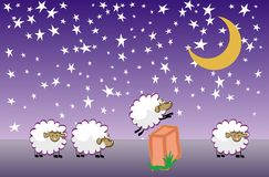 Insomnia. Sheep jumping over fence. Vector illustration. Cartoon character. Count them to sleep Stock Photo