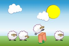 Insomnia. Sheep jumping over fence. Vector illustration. Cartoon character. Count them to sleep Royalty Free Stock Images