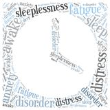Insomnia or sleeplessness concept. Word cloud illustration. Royalty Free Stock Photography