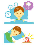 Insomnia, sleeplessness, man Royalty Free Stock Images