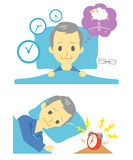 Insomnia, sleeplessness, old man Royalty Free Stock Image