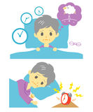 Insomnia, sleeplessness, old woman. Insomnia sleeplessness old woman,  file Stock Image
