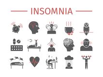 Insomnia, Symptoms. Flat icons set. Vector signs for web graphics. Insomnia, Symptoms. Flat icons set. Vector signs for web Royalty Free Stock Photo