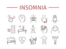Insomnia, Symptoms. Line icons set. Vector signs for web graphics. Insomnia, Symptoms. Line icons set. Vector signs for web Stock Image