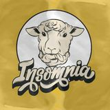 Insomnia. Vector handwritten lettering . Hand drawn illustration of  sheep.  Template for card, poster, banner, print for t-shirt Royalty Free Stock Image