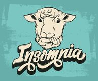 Insomnia. Vector handwritten lettering . Hand drawn illustration of  sheep.  Template for card, poster, banner, print for t-shirt Royalty Free Stock Photo