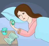 Insomnia. Woman can not sleep. Insomnia, woman can not sleep and looking at the alarm-clock Stock Images