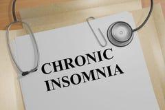 Insonnia cronica - concetto medico Fotografia Stock Libera da Diritti