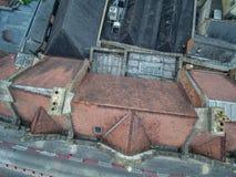 Inspeção aérea do telhado do zangão Foto de Stock