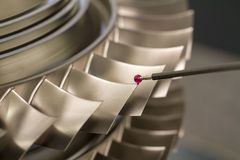 Inspect dimension metal parts by CMM after machining process in industrial factory.  royalty free stock image