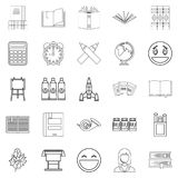 Inspect icons set, outline style. Inspect icons set. Outline set of 25 inspect vector icons for web isolated on white background Stock Photography