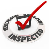 Inspected Check Mark Box Home Inspection Evaluation. The word Inspected around a check mark and box to illustrate home inspection, or personal evaluation, review Stock Photo