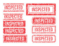 Inspected Word Rubber Stamps Grunge Style Set Stock Photo