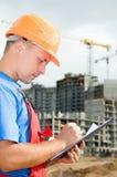 Inspecteur bij bouw ares Stock Fotografie