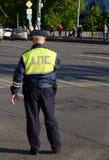 Inspecteur de la patrouille de police de route au centre de Moscou Image stock