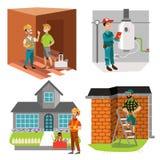 Inspecteurs vérifiant l'ensemble de chauffe-eau de pièce et de toit de maison illustration de vecteur