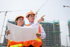 Inspecting construction site Royalty Free Stock Photos