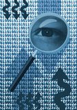 Inspecting eye. Magnifying glass with eye over binary code stock illustration