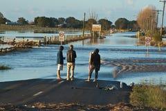 Inspecting the Flood Stock Photo