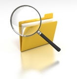Inspecting Folder. 3D rendered image of a magnifying glass inspects a computer folder Stock Photo