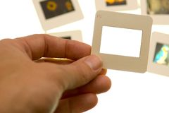 Inspecting slides - blank slide - insert your own picture Royalty Free Stock Photography