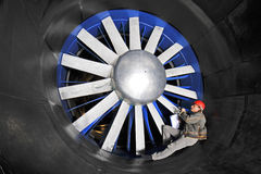 Inspecting a wind tunnel Royalty Free Stock Image
