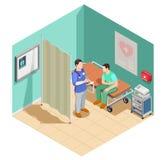 Inspection à docteur Isometric Composition illustration de vecteur