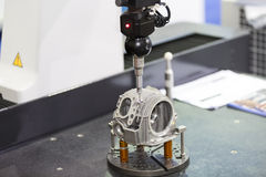 Inspection automotive head cylinder dimension. By CMM measuring machine Royalty Free Stock Photo