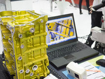 Inspection automotive part dimension. By 3D scan measuring machine Stock Image