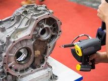 Inspection automotive part dimension. By 3D scan measuring machine Stock Images