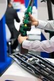 Inspection automotive part dimension. By 3D scan measuring machine Stock Photo