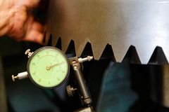 Inspection backlash gear with dial gauge Stock Photography