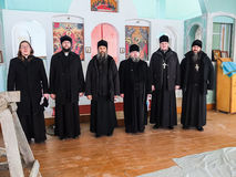Inspection of the construction of the Church and the Episcopal service in the Kaluga region of Russia. stock images