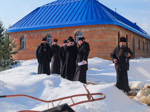 Inspection of the construction of the Church and the Episcopal service in the Kaluga region of Russia. royalty free stock photo