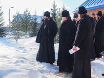 Inspection of the construction of the Church and the Episcopal service in the Kaluga region of Russia. In recent years, Russia has built a large number of stock image